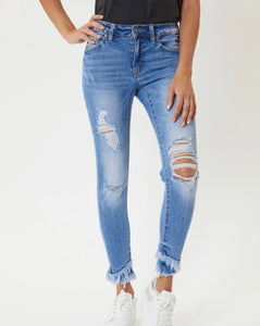 Light Wash Mid Rise Skinny KanCan Jeans with Ankle Fraying