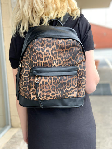 Leopard and Black Purse Backpack