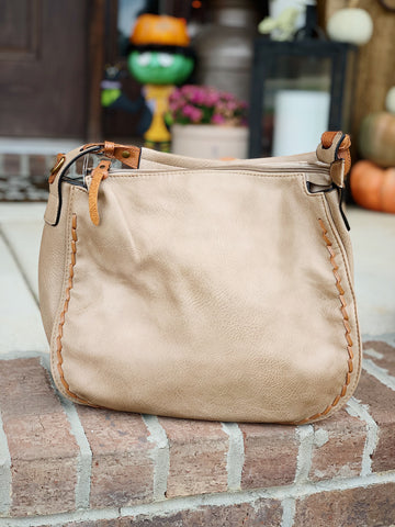 Taupe Handbag with Camel Brown Detail