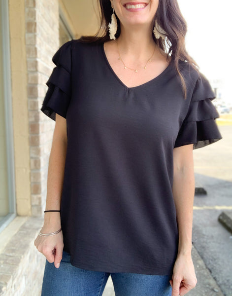 Black Top With Ruffle Sleeves