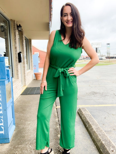 Kelly Green Ribbed Self-Tie Jumpsuit