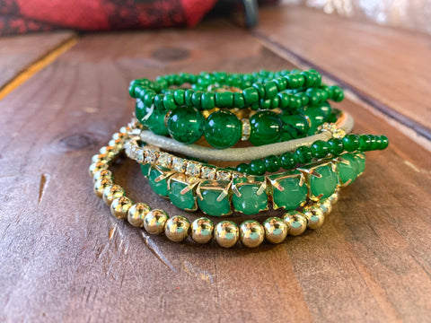 Multi Beaded Green and Gold Bracelets