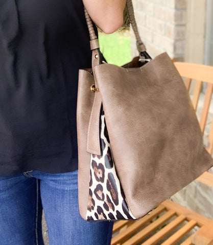 Light Brown Leopard Hobo Bag