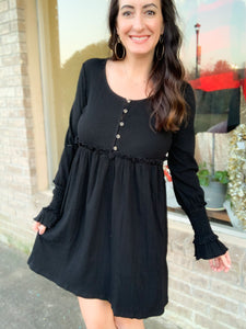 Button Down Dress with Smocking Detail