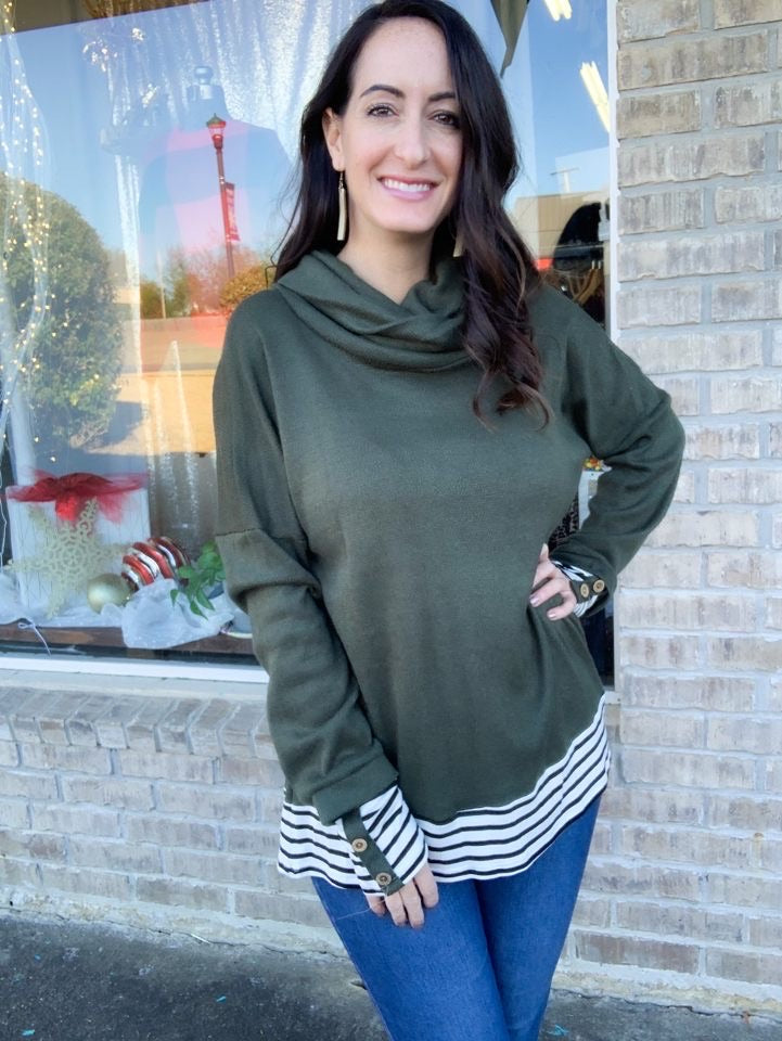 Olive and Striped Cowl Neck Sweater