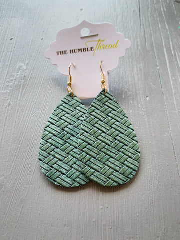 Jade Weave Leather Earrings