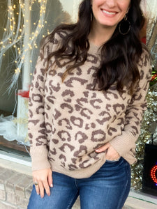 Leopard Sweater with Scalloped Hem