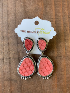 Coral Scale Pendant Earrings