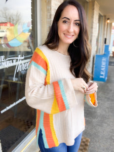 Apricot Color Block Sleeve Sweater