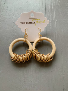Wooden Hoop Ring Earrings