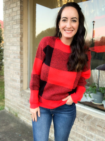 Red & Black Plaid Sweater