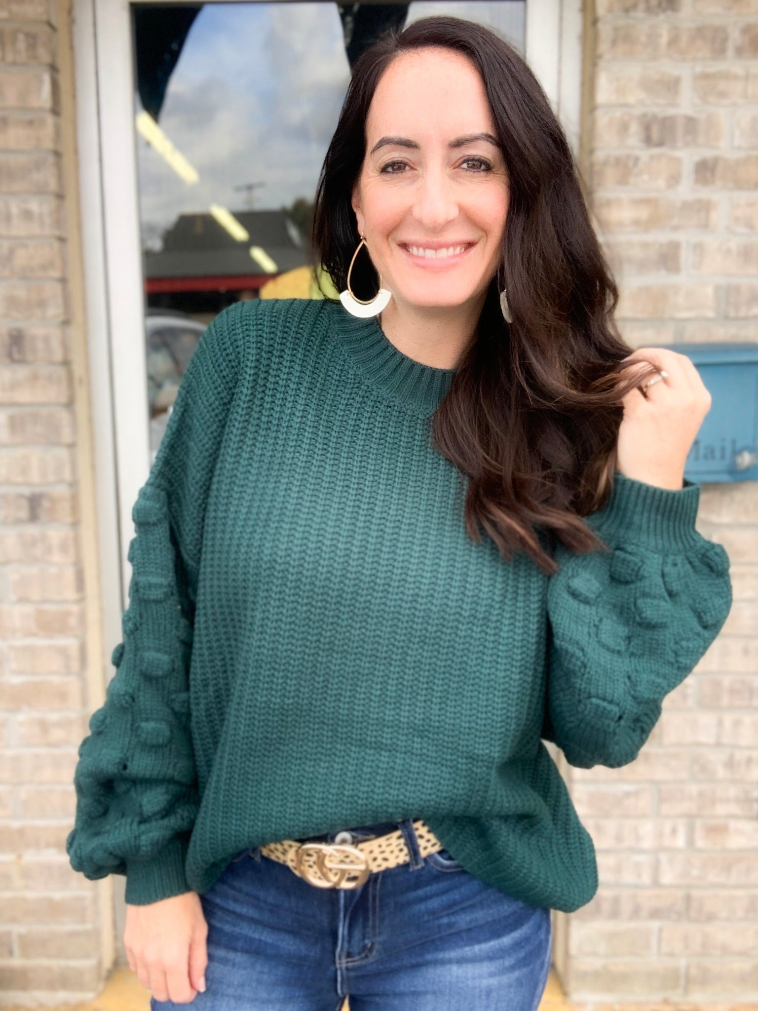 Forest Green Bubble Sleeve Sweater