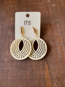 Cream Laser Cut Wooden Earrings