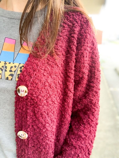 DK Burgundy Popcorn Button Down Cardigan