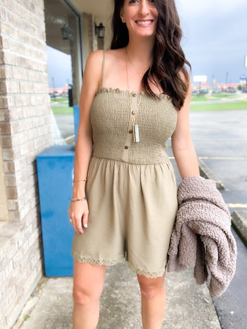 Olive Romper with Lace Hem