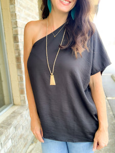 Black One Shoulder Blouse