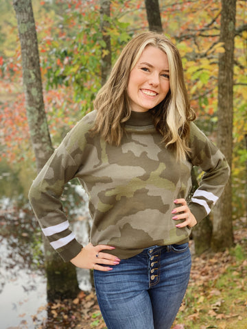 Camouflage Dolman Sleeve Sweater