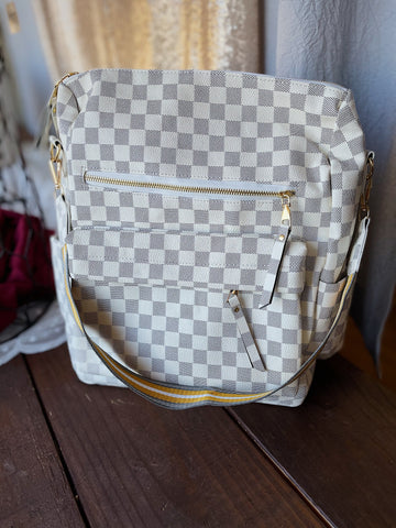 Cream Checkered Backpack Purse