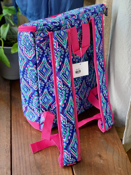 Blue & Pink Geo Backpack Cooler