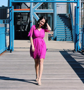 Lace V-Neck Fuchsia Dress