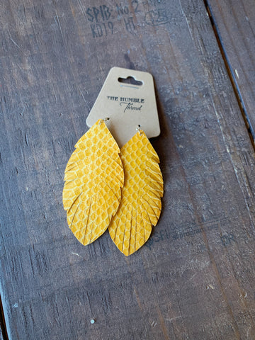Mustard Snakeskin Earrings