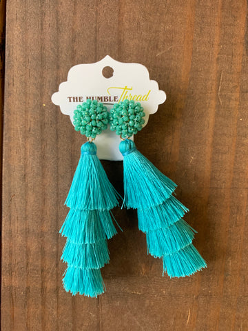 Teal Beaded and Tassel Earrings