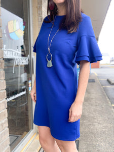 Royal Bell Sleeve Shift Dress