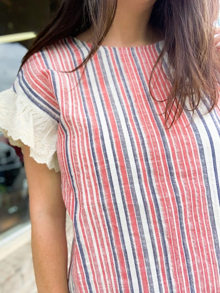 Red White and Blue Striped Blouse with Lace Detail