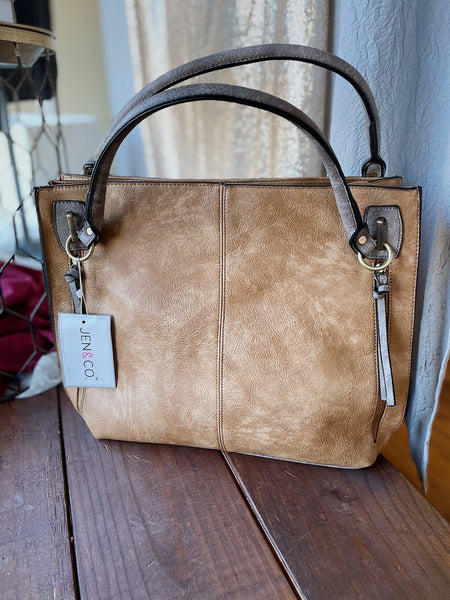 Tan & Grey Distressed Handbag