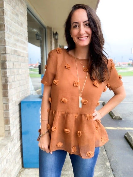 Camel Swiss Dot Peplum Blouse
