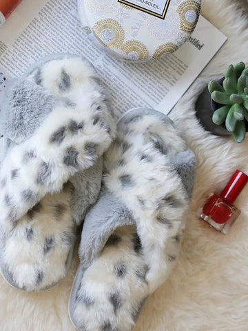 Grey Leopard Faux Fur Slippers