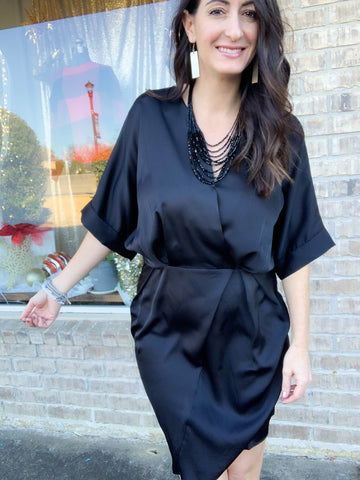 Black Silky Satin Wrap Dress
