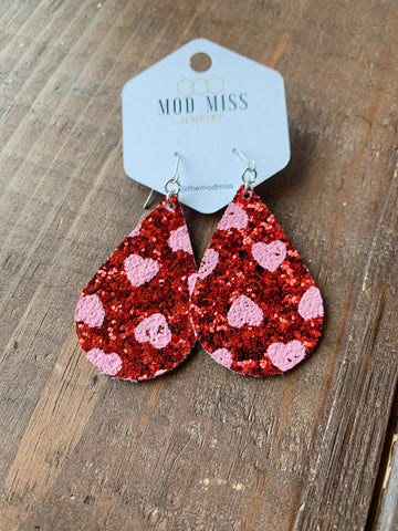 Pink & Red Glitter Heart Earrings