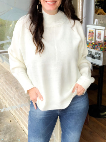 Classic Ivory Mock Neck Sweater