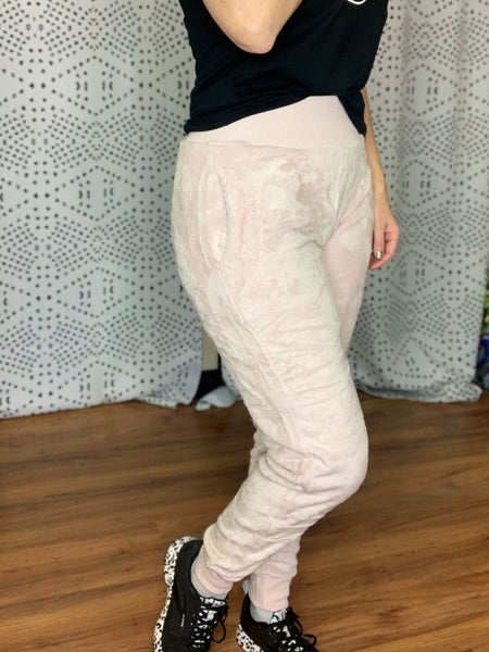 Light Pink Plush Fleece Joggers