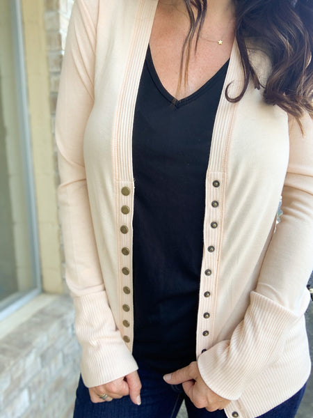 Sand Snap Button Cardigan