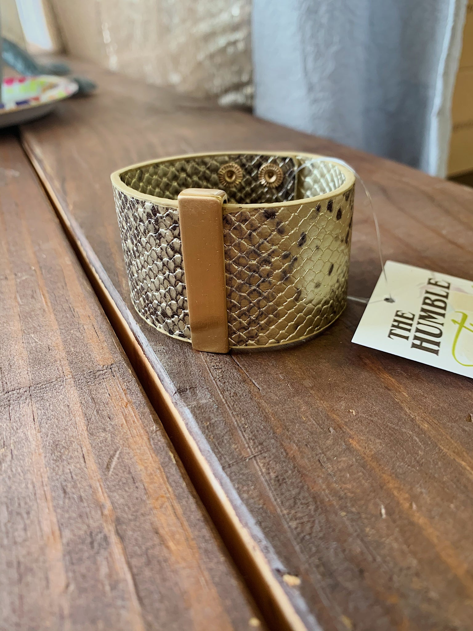 Gold Snakeskin Leather Cuff