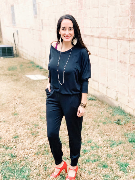 Black Jumpsuit with Cinched Waist