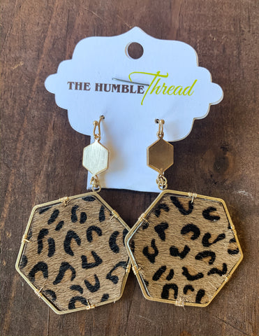 Leopard Print Hexagon Earrings