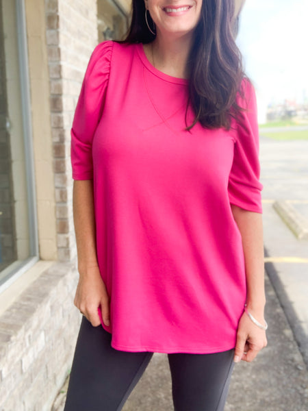 Fuchsia French Terry Puffy Sleeve Top