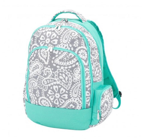 Teal & Grey Paisley Backpack
