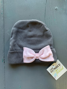 Grey & Pink Bow Baby Hat