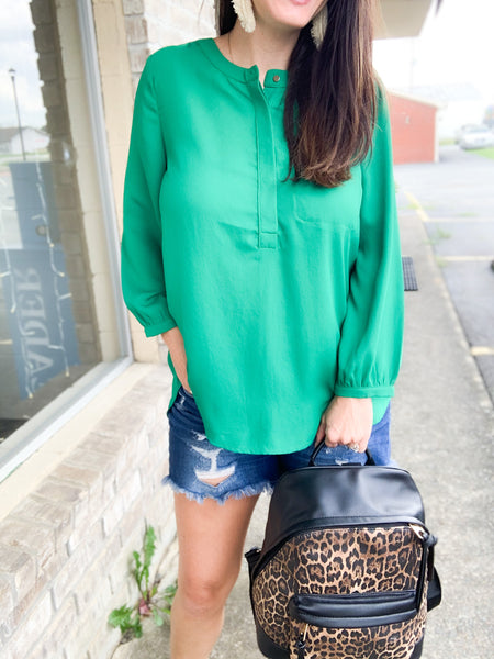 Kelly Green Pintuck Blouse