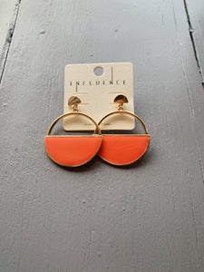 Coral Half Circle Earrings