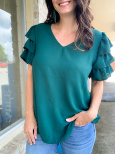 Hunter Green Ruffle Sleeve Blouse