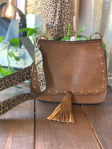 Camel Studded Tassel Purse with Leopard Strap