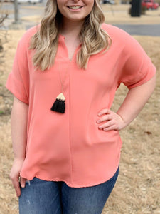 Bright Coral Split V-Neck Top