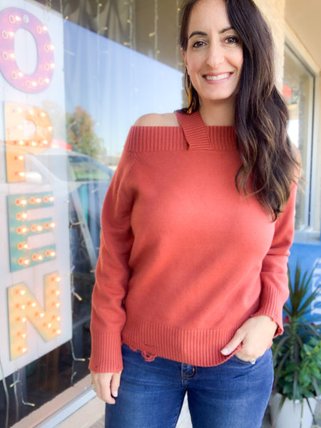 Rust Off Shoulder Single Strap Sweater
