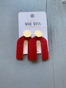 Deep Red Arch Shaped Earring with Gold Stud