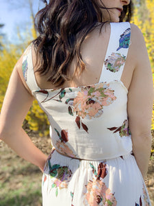 Floral Print Open Back Dress
